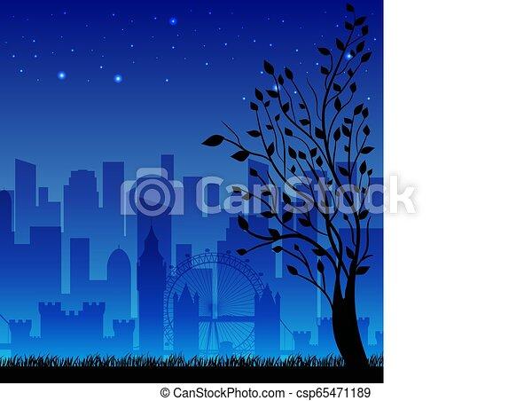 night city background concept. Vector illustration design - csp65471189