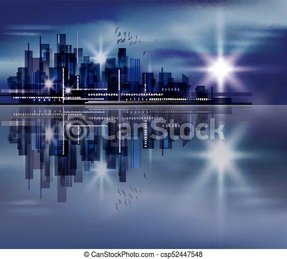 Night city background - csp52447548