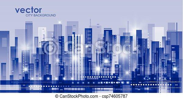Night city background - csp74605787