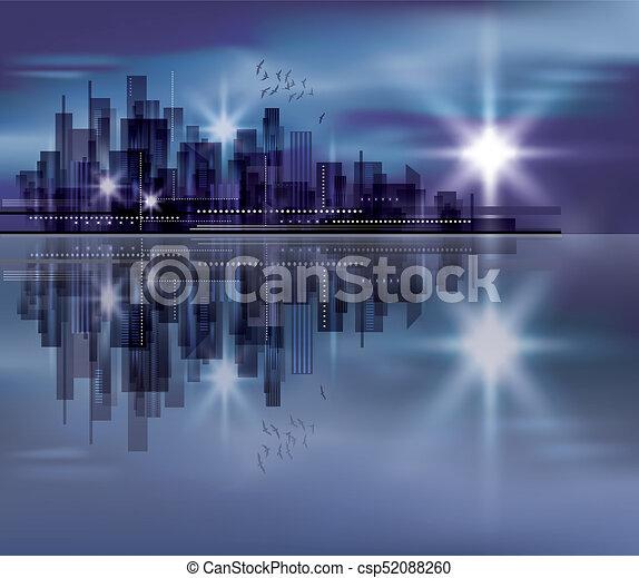 Night city background - csp52088260