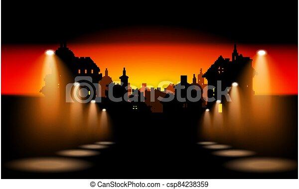 Night City Background With Spotlight - csp84238359
