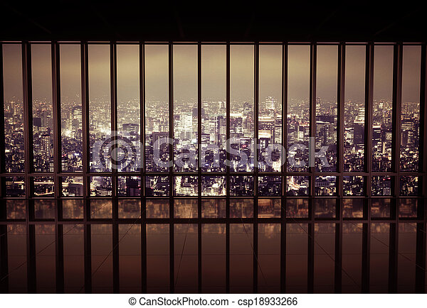 Night city behind the grating - csp18933266
