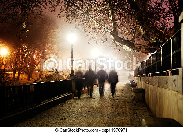 Night city image and people walking - csp11370971