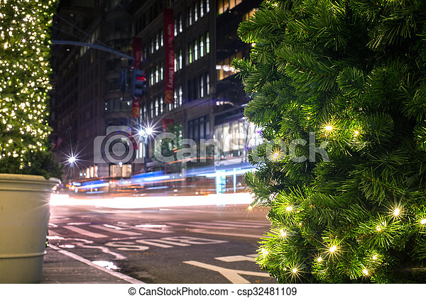 night city in the christmas time - csp32481109