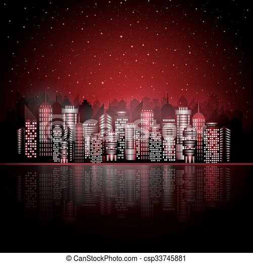 Night city on the water - csp33745881