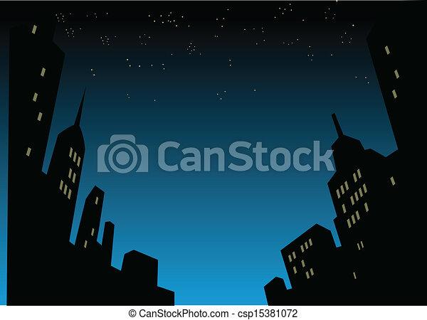 Night City Skyline Background - csp15381072