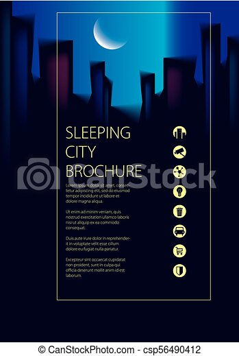 night city traveling tourist guide book brochure flyer cover