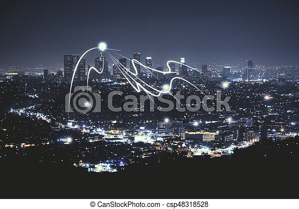 Night City Wallpaper With Abstract Digital Objects Stock Photo