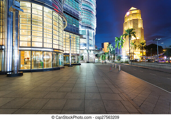 night cityscape and buildings in   kuala lumpur,Malaysia - csp27563209