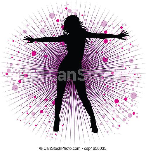 night-club, girl, vecteur, danse - csp4658035