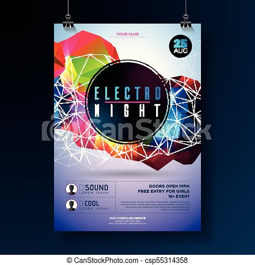 Night Dance Party Poster Design With Abstract Modern Geometric Shapes On Shiny Background Electro Style Disco Club Template