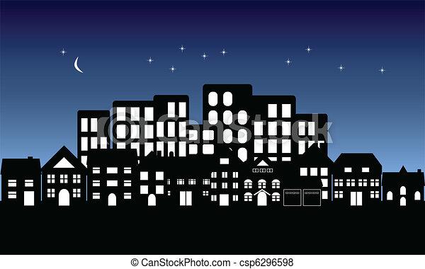 Night fall on town - csp6296598