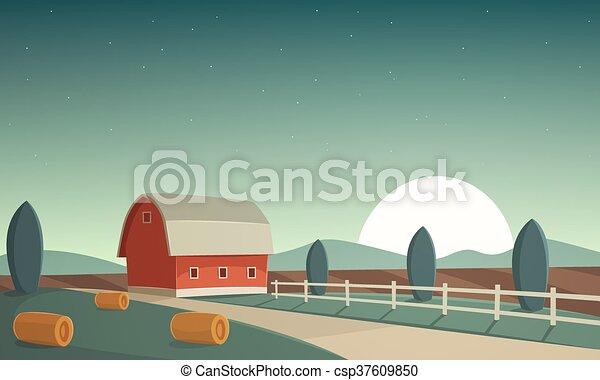 Night Farm Landscape - csp37609850
