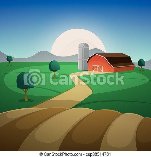 Night Farm Landscape - csp38514781