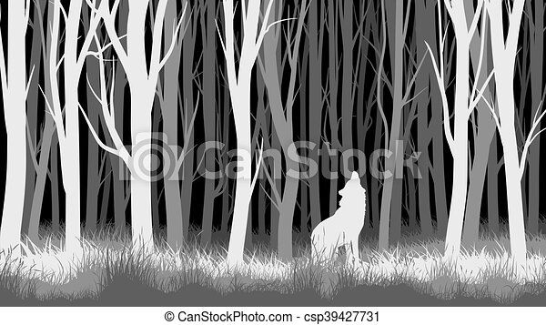 Horizontal Line Art : Night forest with wolf abstract vector horizontal vectors