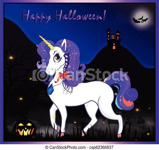 Night Halloween Unicorn 2 Text Eps