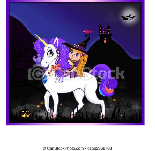 Night Halloween Witch Unicorn2 Eps