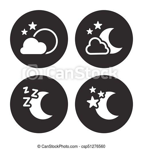 Night icons set. white logo on a black background.