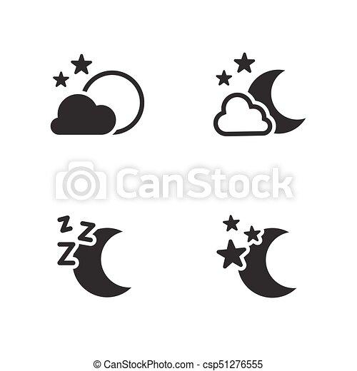 Night icons set. black logo on a white background.
