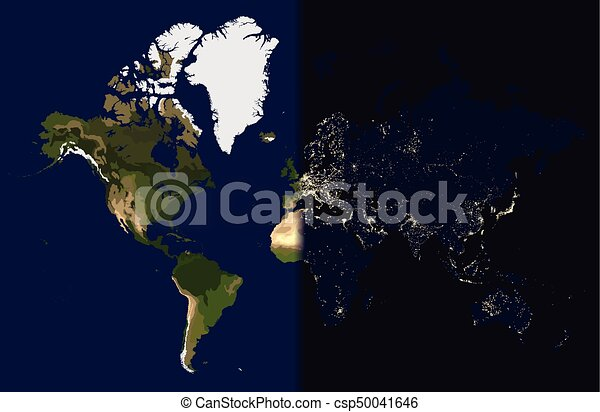 Night in the east, day in the west, world map vector illustration.