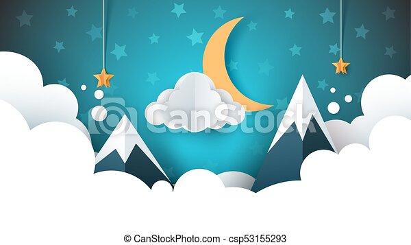Night landscape - cartoon illustration. Cloud, mountain, moon, star. - csp53155293