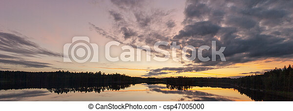 night landscape on a forest lake - csp47005000