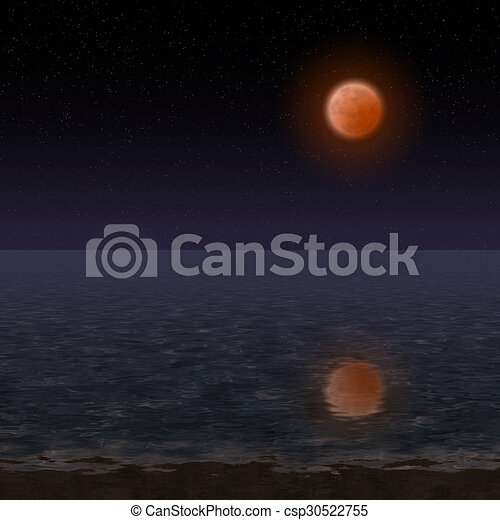 Night landscape with bloody moon - csp30522755