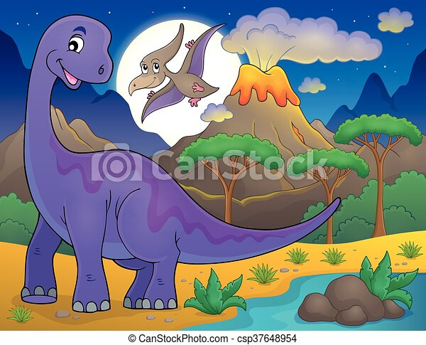 Night landscape with dinosaur - csp37648954