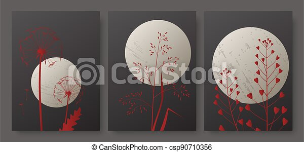 Night landscape with full moon and meadow grass, minimal luxury red foliage - csp90710356