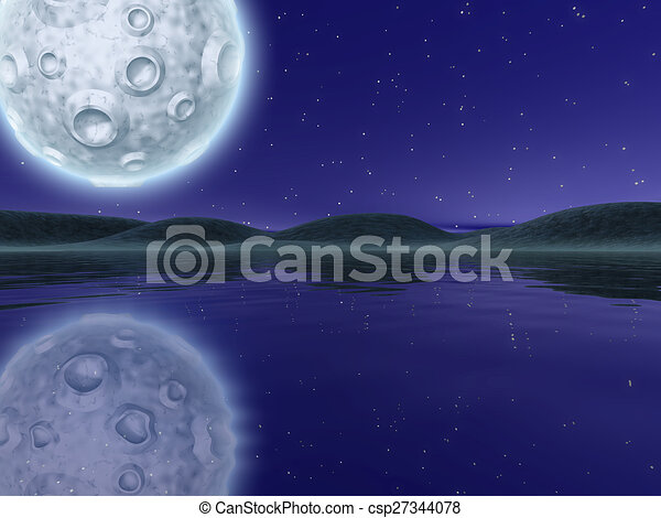 Night landscape with lake and hills - csp27344078