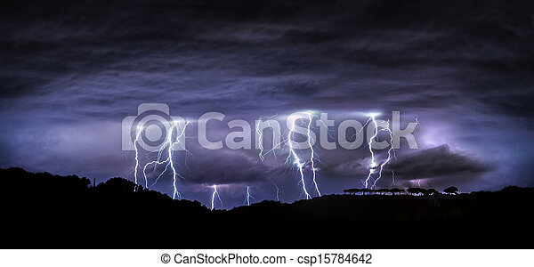 night landscape with lightning  - csp15784642