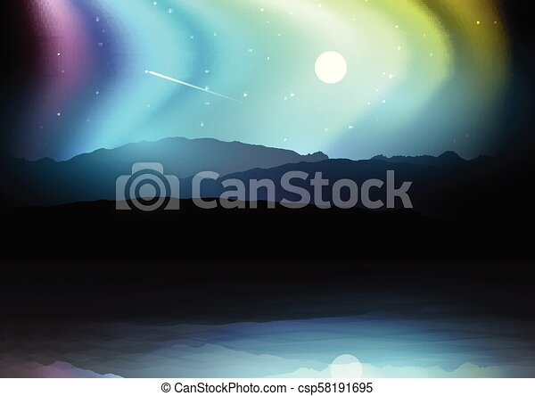 Night landscape with mountains against a northern lights sky - csp58191695