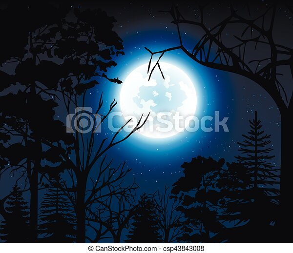Night landscape with starry sky and full moon on a background silhouettes of trees - csp43843008