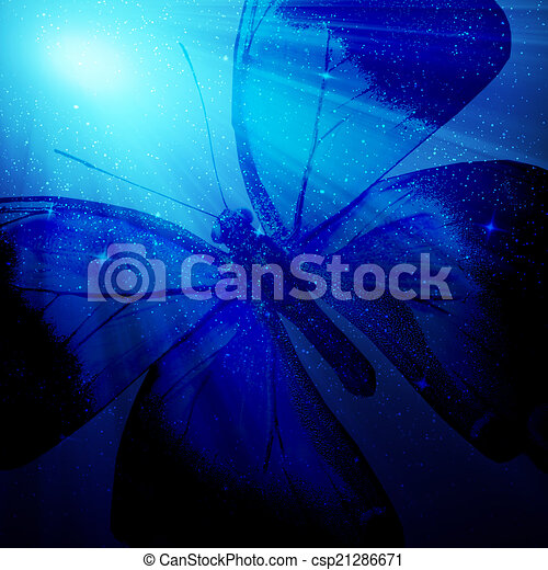 Night light with butterfly as abstract lights background - csp21286671