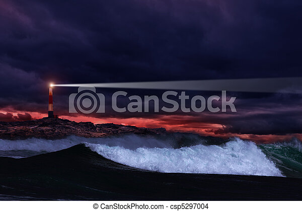 Night lighthouse - csp5297004