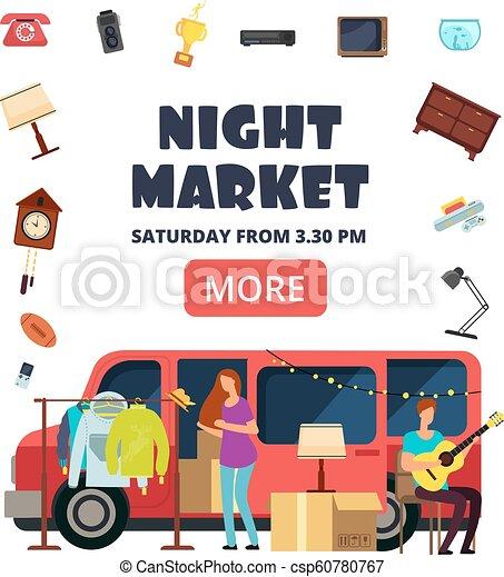 Night Market Street Bazaar Invitation Poster Flea Markets Vector Flyer