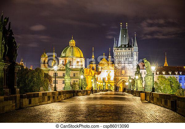 Night on Charles Bridge in Prague - csp86013090