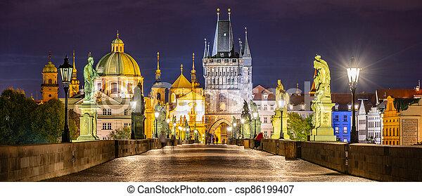Night on Charles Bridge in Prague - csp86199407