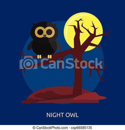 Night Owl Conceptual illustration Design - csp66585135
