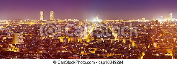 night panorama of city - csp18349294