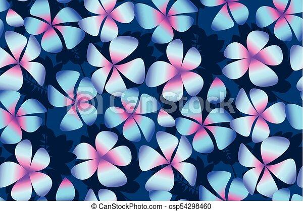 Simple Elegant Line Art : Night plumeria flowers in simple elegant style abstract clip