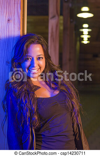 Night Portrait of Pretty Mixed Race Young Adult Woman - csp14230711