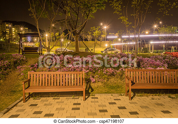 Marvelous Night Scene Of Lake Side Park In South Korea Bralicious Painted Fabric Chair Ideas Braliciousco