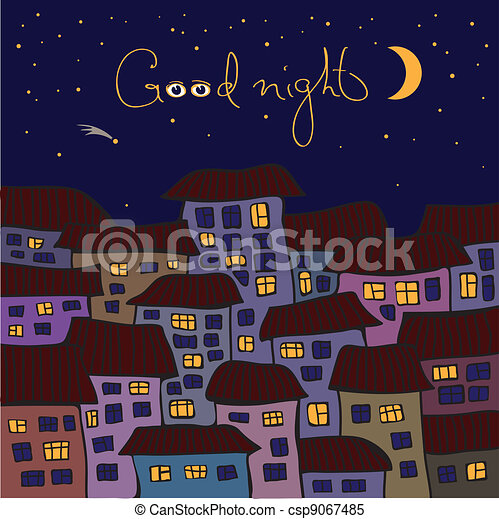 Night scenery of building city with moon - csp9067485