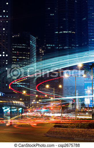 night scenes of skyscraper with light and motion blurred - csp2675788