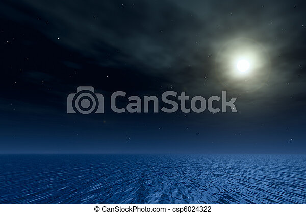Night seascape. Magic moon in ocean. - csp6024322