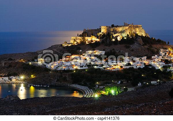 Night shot of Lindos town. Rhodes island, Greece - csp4141376