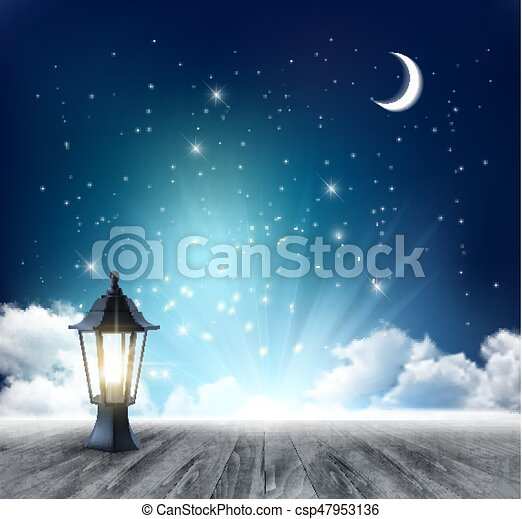 Night Sky Background With Crescent Moon And Ramadan Lamp. Vector. - csp47953136