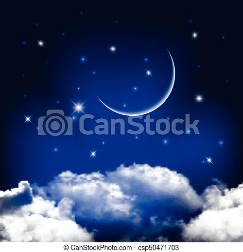 Night sky background with moon above clouds - csp50471703