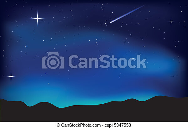 Night sky landscape - csp15347553
